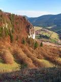 Outlook from Tupa Skala, Slovakia. Aerial autumn outlook from Tupa Skala viewing Ostra Skala rocky fromation, part of Vysnokubinske Skalky, Slovakia. Tupa Skala stock photo