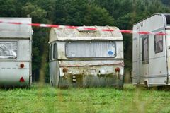 Outmoded camper trailers Royalty Free Stock Images