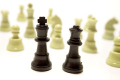 Outnumbered chess pieces Royalty Free Stock Photo
