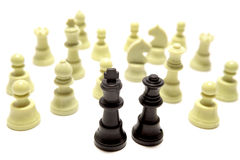 Outnumbered chess pieces Royalty Free Stock Photos