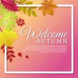 outono bem-vindo com Autumn Leaves Template Design ilustração royalty free