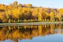 Outono colorido Aleia ao longo do riverbank no fundo do parque do outono Reflexões no rio imagens de stock royalty free