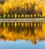 Outono colorido Aleia ao longo do riverbank no fundo do parque do outono Reflexões no rio foto de stock