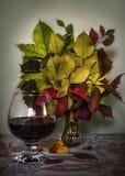 outono com o aroma do vinho ferventado com especiarias Ainda-vida ilustração stock