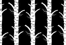 outono da árvore de vidoeiro Fundo sem emenda do preto do teste padrão Imagens de Stock