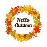 outono de queda da grinalda e do texto da folha do outono olá! no fundo branco Fotos de Stock