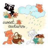 OUTONO do DOCE da cor de Autumn Clipart Vetora Illustration Set ilustração stock