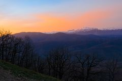 outono do por do sol da montanha Fotos de Stock