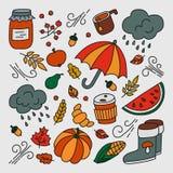 outono e chuva Grupo de elementos no estilo da garatuja e dos desenhos animados cor ilustração stock