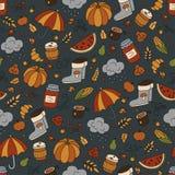 outono e chuva Teste padrão sem emenda no estilo da garatuja e dos desenhos animados cor ilustração stock