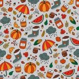 outono e chuva Teste padrão sem emenda no estilo da garatuja e dos desenhos animados cor ilustração royalty free