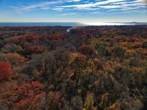 outono em Long Island pelo zangão fotos de stock