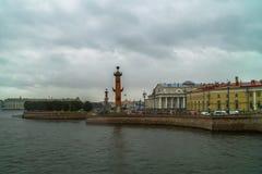 Outono em St Petersburg A extremidade oriental da ilha de Vasilievsky Imagens de Stock
