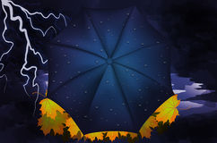 outono Folhas, relâmpago e guarda-chuva do amarelo Foto de Stock Royalty Free