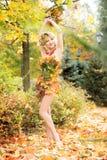 outono, mulher no vestido com as folhas no parque outubro, fotos de stock