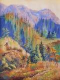 outono nas montanhas da península de Taimyr Trabalho artístico no Br ilustração royalty free
