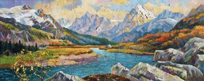 outono nas montanhas de Cáucaso Autor: Nikolay Sivenkov ilustração do vetor