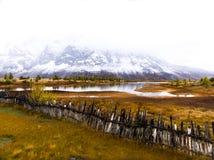 outono nas montanhas, Tibet, China fotos de stock