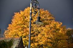 outono no dia ensolarado, parque, poste de luz, parte superior do telhado, nuvens pesadas Fotografia de Stock Royalty Free
