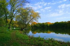 Outono no lago Foto de Stock Royalty Free