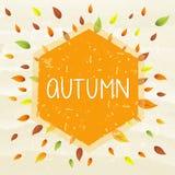 outono no quadro com folhas, bandeira tirada ilustração stock