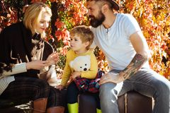 outono que acampa com crianças, mamã e pai Conceito de família feliz Pouco viajante e pais felizes que viajam junto imagens de stock