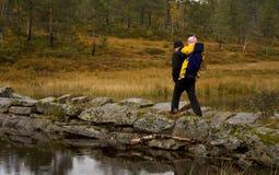 Outono que trekking Imagem de Stock Royalty Free