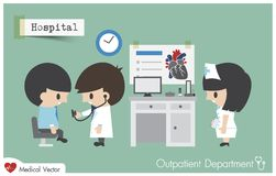 Outpatient department  OPD  in hospital . Doctor  Cardiologist  use stethoscope   Royalty Free Stock Photo