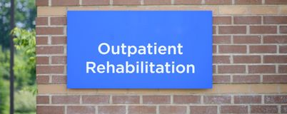 Outpatient Rehabilitation Center. At an hospital for people recovering from painful injuries Royalty Free Stock Photo
