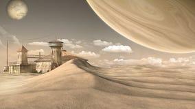 Outpost on the desert Stock Photo