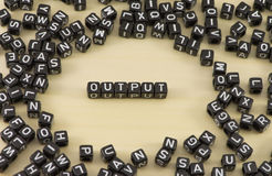 The output. The concept of the word output Stock Photos