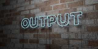 OUTPUT - Glowing Neon Sign on stonework wall - 3D rendered royalty free stock illustration Stock Images