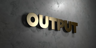 Output - Gold sign mounted on glossy marble wall  - 3D rendered royalty free stock illustration Stock Photos
