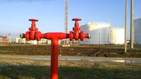 Output pipeline of fire system. A fire extinguishing system at oil refinery royalty free stock images