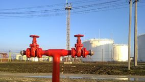 Output pipeline of fire system. A fire extinguishing system at oil refinery stock image