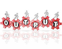 Output Word Gears People Working Productivity Results. A team of workers or team mates walking on gears of a machine or production line to increase results and Stock Image