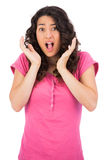 Outraged brown haired woman posing Stock Photography