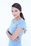 Outraged brunette woman with arms crossed Royalty Free Stock Photo
