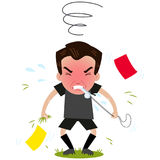 Outraged cartoon referee turned red blowing whistle with yellow and red cards and grass all around Stock Photos
