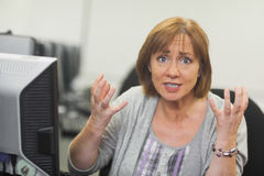 Outraged mature student sitting in front of computer Stock Image