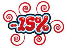 15% outre de l'amusement d'étiquette Photo stock
