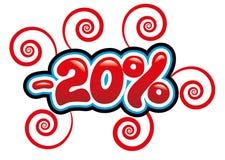 20% outre de l'amusement d'étiquette Photo libre de droits