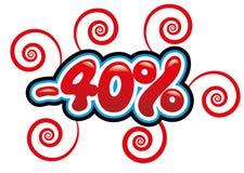 40% outre de l'amusement d'étiquette Photos libres de droits