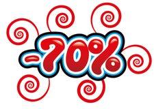 70% outre de l'amusement d'étiquette Images libres de droits