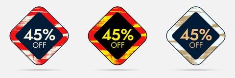 45 outre de l'autocollant de remise 45 outre de la bannière de vente et de prix discount Photo stock