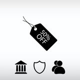 50% OUTRE de l'icône d'étiquette, illustration de vecteur Style plat de conception Images stock