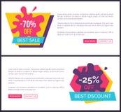 -70 outre de la meilleure vente, labels promotionnels avec des taches Photographie stock
