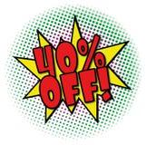 40% OUTRE de la rétro étiquette d'affaire de conception d'explosion comique Image libre de droits