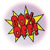 80% OUTRE de la rétro étiquette d'affaire de conception d'explosion comique illustration de vecteur