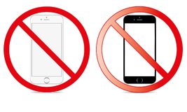 Outre du commutateur mobile de signe outre de l'icône de téléphone aucun symbole d'avertissement mobile permis par téléphone photos libres de droits